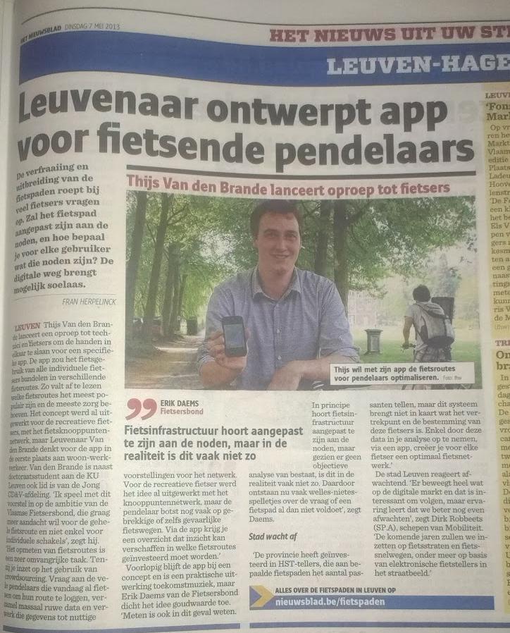 artikel in het nieuwsblad over de fietspendelapp